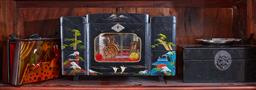Sale 9103H - Lot 17 - A shelf lot of oriental themed wares including jewellery boxes and a handbag. largest width 33cm