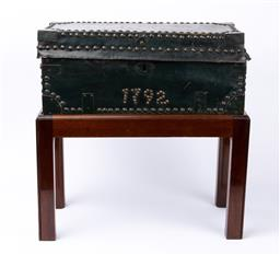 Sale 9135H - Lot 77 - An antique continental leather bound trunk dated 1792, on A later stand. 55cm Width, 28Cm Depth,