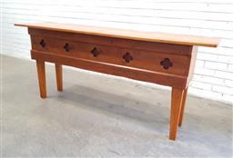 Sale 9134 - Lot 1544 - Irish pine hall table with carved skirt (h:78 w:183 d:39cm)