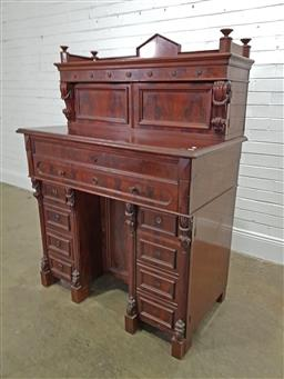 Sale 9179 - Lot 1067 - 19th Century German Mahogany Secretaire, the raised superstructure with gallery back, four drawers & two panel doors enclosing shelv...