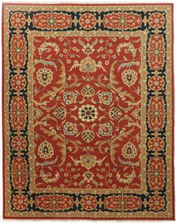 Sale 9181C - Lot 24 - A densely woven floral Jaipur Kilim in Rust and navy tones 363 x 275cm