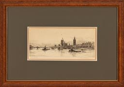 Sale 9216A - Lot 5085 - FRANK HARDING (C19TH) Westminster Bridge, c1880s etching 15 x 34.5 cm (frame: 47 x 67 x 3 cm) signed lower right