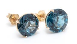 Sale 9246J - Lot 304 - A PAIR OF 14CT GOLD SOLITAIRE LONDON BLUE TOPAZ STUD EARRINGS; each claw set with an approx. 2.5ct round cut topaz, width 8mm, wt. 1...