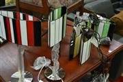 Sale 8159 - Lot 1081 - 2 Pairs of Leadlight Shade Hanging Lights & 2 Similar Table Lamps (6)