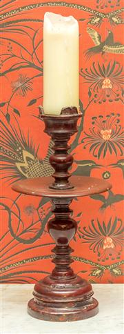 Sale 8222 - Lot 15 - A red lacquered timber turned candle stand with drip tray, H 44