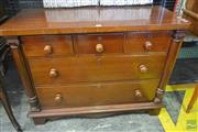 Sale 8255 - Lot 1074 - Small Victorian Chest of Five Drawers, with turned half columns