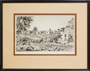 Sale 8274 - Lot 597 - Lionel Lindsay (1874 - 1961) - Untitled (Distant View of Spanish Town) 25 x 15cm