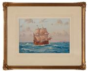 Sale 8818A - Lot 6 - BJohn AllcotDRI MayflowerDR watercolourR 48 x 33cmR signed and dated LL 1928