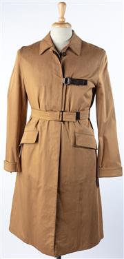 Sale 9080F - Lot 17 - A PRADA MENS GABARDINE COAT; in tobacco cotton with side leather fastening, a belt and two side pockets ( Size M/L )