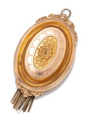 Sale 9054 - Lot 387 - A VICTORIAN 14CT GOLD LOCKET PENDANT BROOCH; oval form in 2 tone gold with raised central panel featuring scroll motifs to central s...