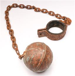 Sale 9104 - Lot 3 - Convict Style Iron and Brass Clad Ball and Chain Set
