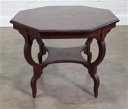 Sale 9215 - Lot 1057 - Victorian Inlaid Rosewood Occasional or Centre Table, the octagonal top with central medallion, raised on four serpentine legs with...