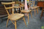 Sale 8260 - Lot 1020 - Good Set of Four Early Ercol Elm Wishbone Stacking Dining Chairs