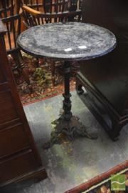 Sale 8335 - Lot 1074 - Victorian Style Cast Iron Garden Table, with round top & pierced triform base