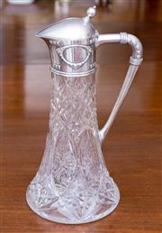Sale 8346A - Lot 18 - An early C20th Faberge silver mounted cut crystal claret jug, ,  Struck K Faberge in Cyrillic script with Imperial warrant for Mosco...