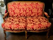 Sale 8420A - Lot 92 - A walnut timber Louis XV style red damask upholstered two seater lounge featuring cabriole legs & feather mix seat cushions, measure...