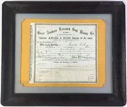 Sale 8793 - Lot 60 - Great Northern Extended Gold Mining Co, Rutherglen, scrip certificate no 1386 signed by McClurchan, ex Hill End 1890