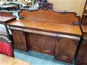 Sale 8792 - Lot 1003 - Victorian Mahogany Breakfront Sideboard with carved back above three shaped frieze drawers and four panelled doors partly flanked by...
