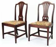 Sale 8960J - Lot 33 - A pair of antique English mahogany Georgian chairs C: 1790. The pierced centre splats supporting the camel back top rail on shaped u...