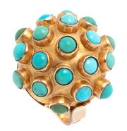 Sale 8991 - Lot 331 - A GOLD TURQUOISE COCKTAIL RING; dome top set with round cabochon turquoise, tests 18ct gold, size M, top 21.4mm, wt. 5.98g.