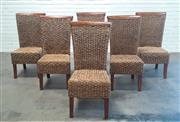 Sale 9071 - Lot 1072 - Set of Six Seagrass & Timber High Back Dining Chairs (H:106 x W:55 x D:65cm)