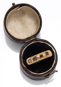 Sale 9180E - Lot 96 - A 9ct gold band ring with gems, missing 2, total weight 3g, in box