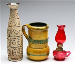 Sale 9168 - Lot 93 - A retro yellow jug (H:20cm) together with an incised Egyptian style vase (H:22cm) and a kerosene lamp (H:20cm)