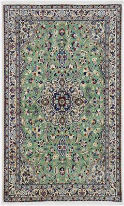 Sale 9181C - Lot 26 - Wool and silk finely knotted mint green Nain Persian Rug 185 x 115cm