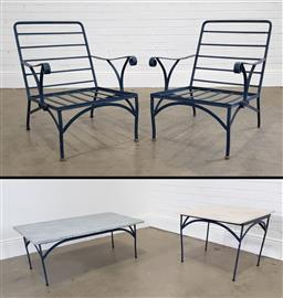 Sale 9215 - Lot 1533 - Pair of vintage metal outdoor chairs with coffee table & sidetable (h80 x w60 x d80cm)