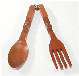 Sale 9218 - Lot 1093 - Pair of wall hung fork and spoon (h:56cm)
