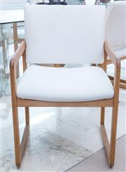 Sale 8593A - Lot 10 - A set of ten C20th design timber dining chairs upholstered in ivory corduroy