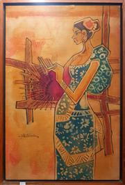 Sale 8659 - Lot 2015 - Malaysian School - Woman Weaving, 1973, batik (AF), 91 x 61.5cm (frame size), signed and dated lower left