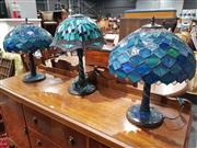 Sale 8760 - Lot 1038 - Pair of Leadlight Shade Table Lamps with Dragonfly Motifs To Base & Another (3)