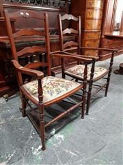 Sale 8792 - Lot 1014 - Pair of Edwardian Fruitwood Ladder Back Armchairs, with floral needlework seats and turned legs, retailed by Beard Watson, Sydney