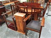 Sale 8839 - Lot 1340 - Round Oak Dining Table with 6 Chairs