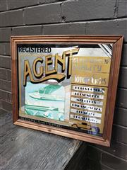 Sale 8967 - Lot 1043 - Vintage Bar Mirror Registered Agent: Suppliers of Quality Motor Cars. 1976 (44 x 50cm)