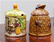Sale 9058H - Lot 29 - A honey pot in brown with bee finial together with a Japanese preserve pot, Height 12cm