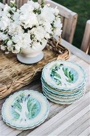 Sale 9087H - Lot 10 - Set of 8 antique French majolica asparagus plates - 23 cm