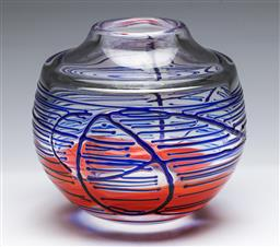 Sale 9168 - Lot 18 - An art glass vase with Orange cloud interior and thick blue external decorations (possibly Kosta Boda H 20cm)
