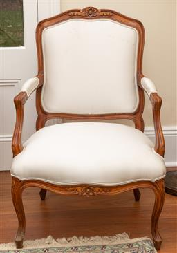 Sale 9190W - Lot 21 - A pair of cream upholstered French style fauteuils Height 95 x width 62 x depth 73cm
