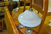 Sale 8013 - Lot 1056 - Pair of Glass Shade Table Lamps