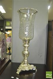 Sale 8352 - Lot 1071 - Silver Plated Large Glass Hurricane Candle