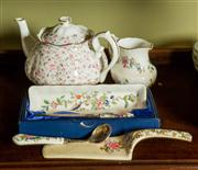 Sale 8418A - Lot 76 - A group of floral ceramics including a Royal Albert Rose Confetti teapot, Ainsley milk jug, cake slice and jam spoon