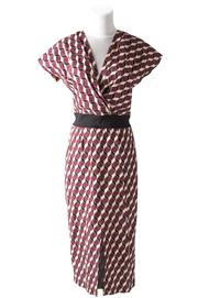 Sale 8493A - Lot 21 - An Apiece Apart, New York, cotton blend cap sleeve patterned dress with deep V neck, 3/4, black waist band, size US 4