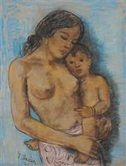 Sale 8881A - Lot 5085 - Artist Unknown - Indonesian Mother and Child, 1936 75.5 x 57 cm