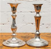 Sale 8942H - Lot 18 - A pair of silver plated baluster candlesticks, Height 22cm