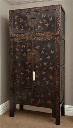 Sale 9108H - Lot 1 - A Chinese embossed and gilt wedding cabinet with butterfly and leaf decoration, with removable top Height 240cm x Width 115cm x Dept...