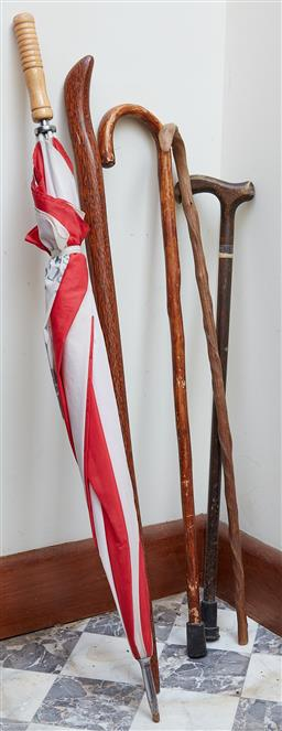 Sale 9103M - Lot 417 - A group of walking sticks and an umbrella, Tallest Length 97cm