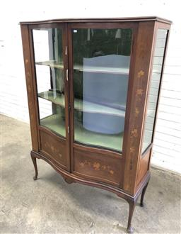 Sale 9126 - Lot 1165 - Edwardian Inlaid Mahogany Serpentine Front Display Cabinet, with two glass panel doors, flanked by floral panels (h:161 w:117  d:46cm)