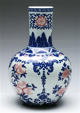 Sale 9164 - Lot 66 - A Blue and white Chinese vase with red highlights H: 32cm